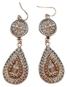 Copper Brown Jeweled Drop Earrings