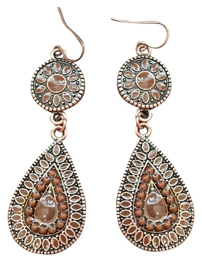 Other Copper Brown Jeweled Drop Earrings