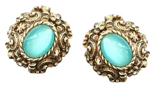 Other Gold Blue Jeweled Earrings