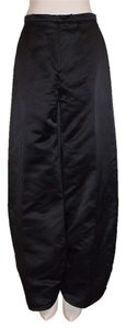 Christian Lacroix Satin Avant-garde Pleated Hem Wide Leg Pants black