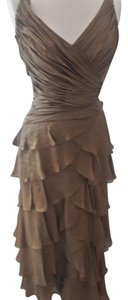 Tadashi Shoji Light Bronze Shirred V Neck Bodice With Layered Silk Dress