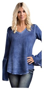 Other Acid Wash V-neck Bell Sleeve Oil Wash Tunic
