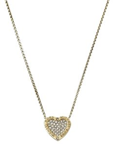 Michael Kors Michael Kors MKJ4265710 Gold Crystals Heart Pendant Chain Necklace