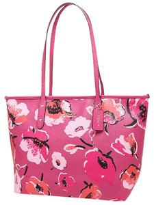Coach Coated Canvas 37266 Dahlia Wildflower Tote in Pink Multi