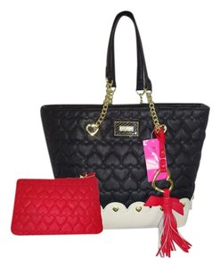 Betsey Johnson Gold Hardware Scalloped Bottom Red Pouch Tote in black