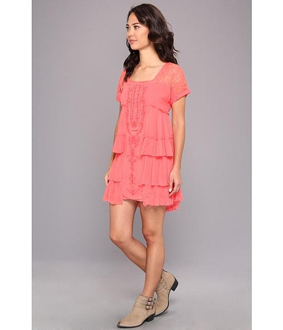 Free People short dress Coral Short Sleeve High Low Square Neckline Embroidered Ruffle on Tradesy
