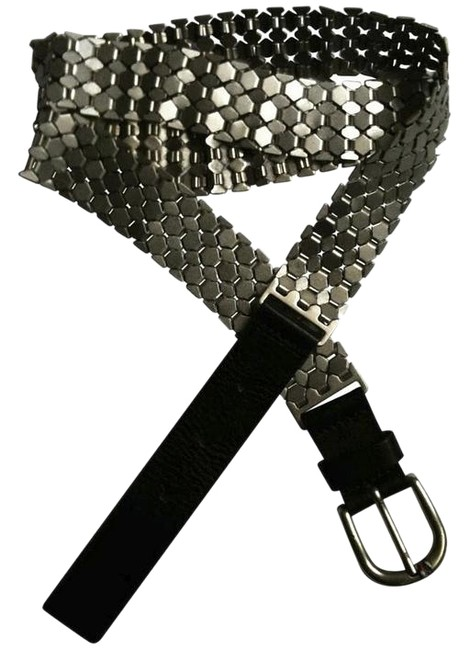 Item - Black + Silver With Tags Leather Serpantine Belt
