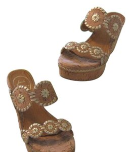 Jack Rogers White & tan with gold fleck leather & cork Sandals