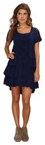 Free People short dress Navy Square Neckline High Low Ruffle Embroidered Raw Edges on Tradesy