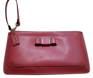 Coach Large Zipper Leather Wristlet in Strawberry
