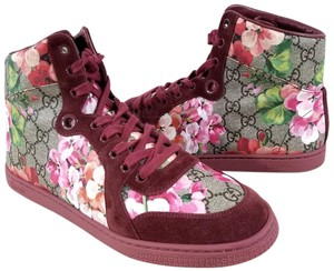 Gucci Multi Color High-top Sneaker Burgundy blooms print Athletic