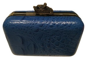 House of Harlow 1960 Crocodile Leather Blue Clutch