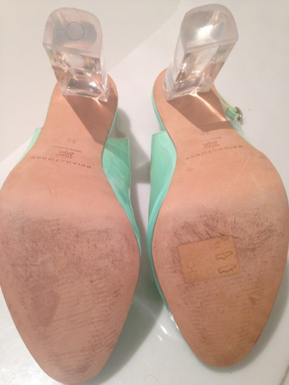 Brian Atwood Heel Turquoise Designer Green Pumps