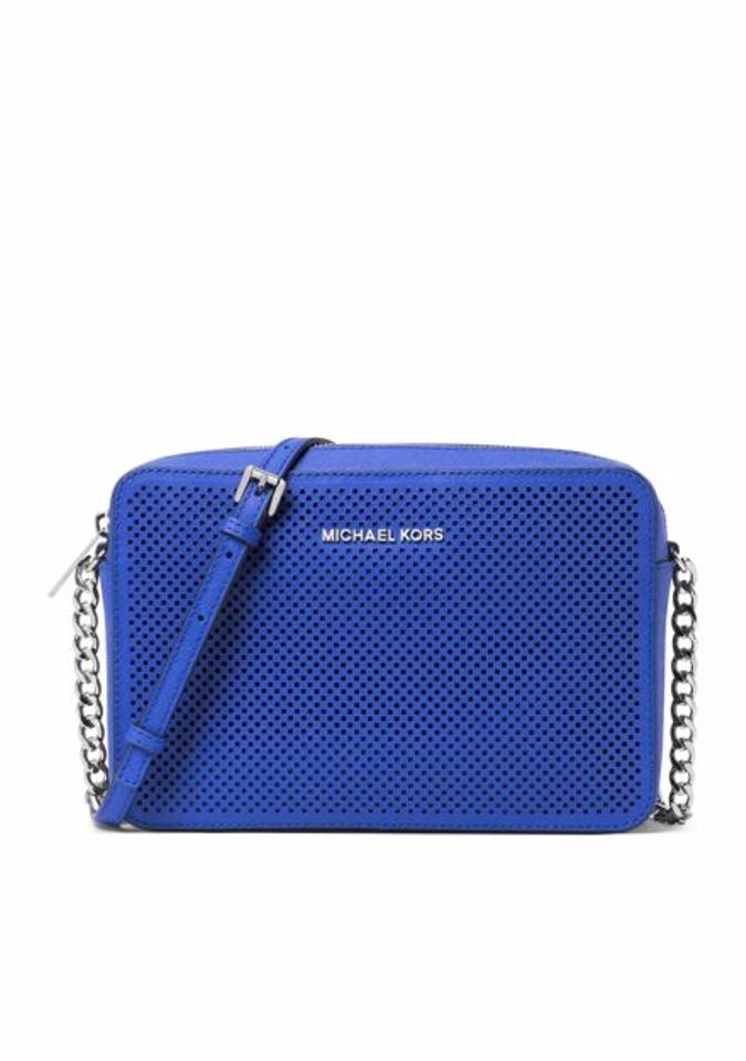 a35656aa88f9 Michael Kors East West Jet Set Travel Large Electric Blue Leather ...