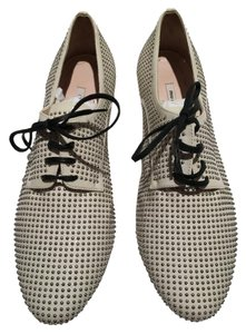 Miu Miu Studded Oxford Cream Flats