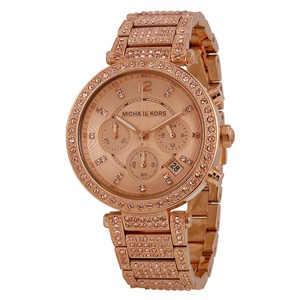 Michael Kors NWT Uptown Glam Parker Chronograph Rose Gold-Tone Ladies Watch $350