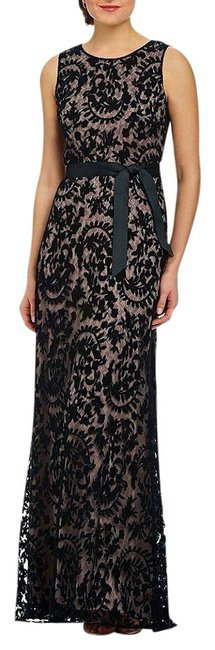 Preload https://img-static.tradesy.com/item/19417327/adrianna-papell-black-lace-overlay-gown-with-ribbon-sash-long-formal-dress-size-petite-10-m-0-1-650-650.jpg