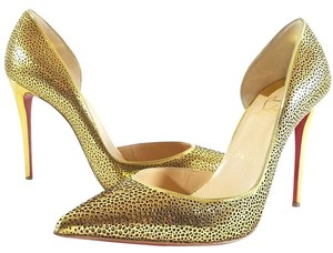 Christian Louboutin Laser Cut Half D'orsay Glimmering Sparkling Made In Italy Metallic Gold Leather Pumps