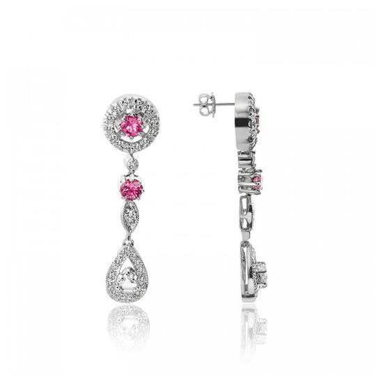 Avital & Co Jewelry 1.30 Ct Diamond Pink Tourmaline Antique Style Drop Earrings 14k WG