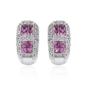 Avital & Co Jewelry 1.35 Carat Pink Sapphire J-hoop Diamond Earrings 14k White Gold