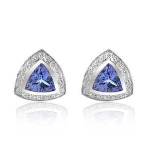 Avital & Co Jewelry 1.97 Carat Tanzanite Earrings With Pave 0.42 Carat Diamond 14k WG