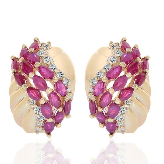 Preload https://img-static.tradesy.com/item/19417611/avital-and-co-jewelry-14k-yellow-gold-250-carat-marquise-ruby-and-diamond-j-hoop-earrings-0-2-540-540.jpg