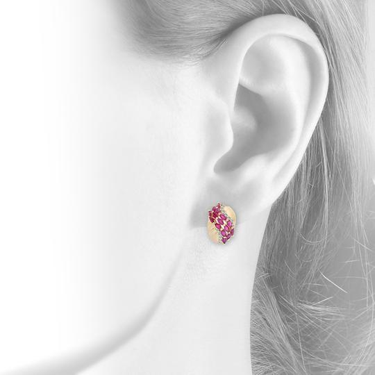 Avital & Co Jewelry 2.50 Carat Marquise Ruby And Diamond J-hoop 14k Yellow Gold
