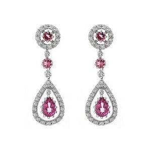 Avital & Co Jewelry 2.87 Carat Pink Tourmaline & Diamond Dangle Earrings 14K White Gold