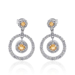 Avital & Co Jewelry 0.90 Carat Yellow Sapphire Diamond Cluster Circle Drop Earring 14k WG