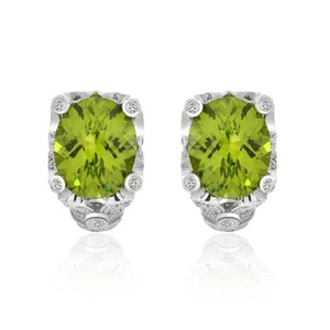 Avital & Co Jewelry 6.54 Carat Peridot With 12 Carat Diamond Earrings 14k White Gold