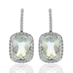 Avital & Co Jewelry 9.85 Checkerboard Cushion Green Amethyst And Diamond Drop Earrings