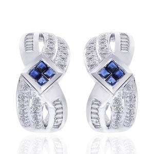 Avital & Co Jewelry 0.90 Carat Diamond And Sapphire Cluster J-hoop Earrings 14k White Gold