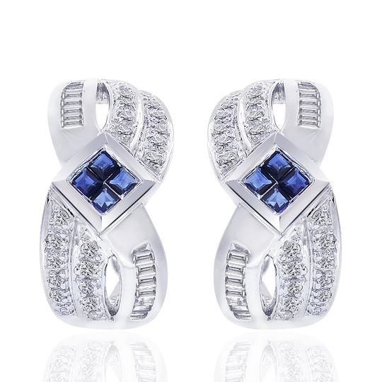 Preload https://img-static.tradesy.com/item/19417637/avital-and-co-jewelry-14k-white-gold-090-carat-diamond-and-sapphire-cluster-j-hoop-earrings-0-2-540-540.jpg