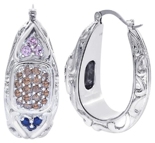 Preload https://img-static.tradesy.com/item/19417654/avital-and-co-jewelry-14k-white-gold-075-carat-chocolate-cognac-diamonds-sapphires-puffy-oval-hoop-w-0-5-540-540.jpg