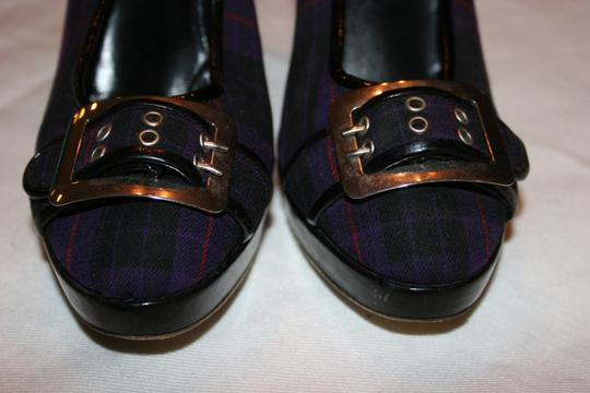 Jean-Paul Gaultier Pump Plaid And Silver Buckle Platforms
