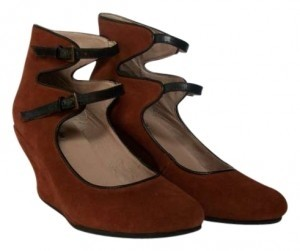Free People Suede Leather Cognac Wedges
