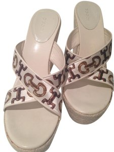 Gucci Designer White Wedges