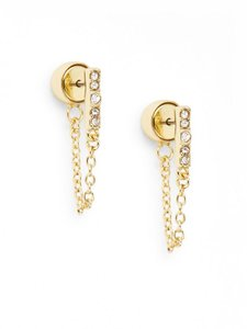 Saks Fifth Avenue New Glitz Bar Chain Earrings