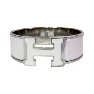 Herms Hermes Rose Nymph White Lacquer PM Wide Enamel H Clic Clac Bracelet Bangle