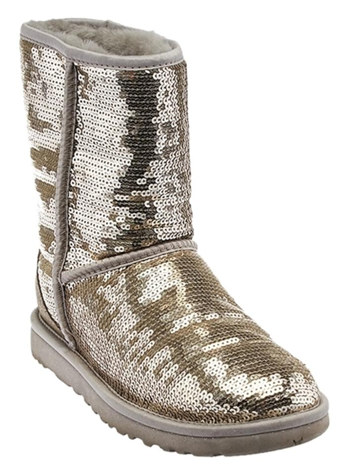 00135c7301d UGG Australia Silver Sequin Classic Short Ankle (32761) Boots/Booties Size  US 6 Regular (M, B)