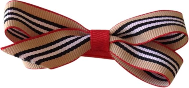 Item - Tan Black White & Red Burberry-inspired Offray Ribbon Bow Hair Accessory