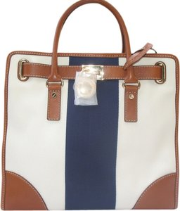 Michael by Michael Kors Handbag Striped Canvas Leather Chain Tote in Navy Cream