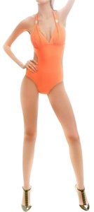ACE FASHION Antique 1PC Monokini Swimsuit (M) Gold Detail Orange