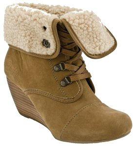 Blowfish Malibu Fur Shearling Wedge Tan Boots