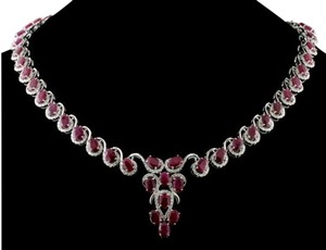 14 K White Gold Ruby & Diamond Necklace (over 30ctw)
