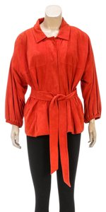 Escada Bright Orange Womens Jean Jacket