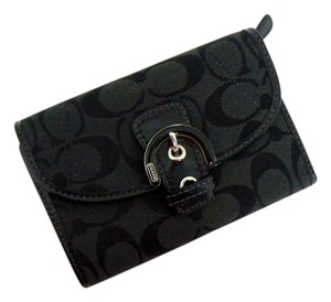 Coach Wallet Signature Nickel Wristlet in Black