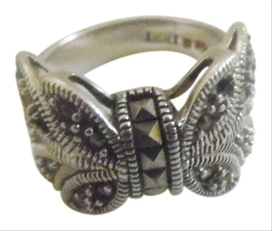 Silver Style Silver Style Sterling Silver Bow Marcasite Ring Size 8