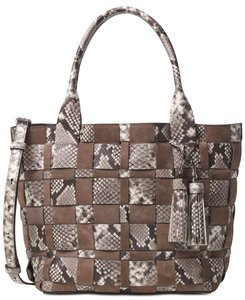 Michael Kors Leather Suede Brown Silver Tote in New With Tags Vivian Medium