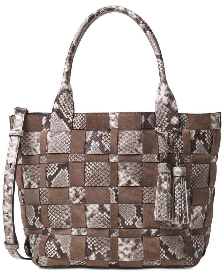 c8e3b8ee8567 Michael Kors Leather Suede Brown Silver Tote in New With Tags Vivian Medium  ...